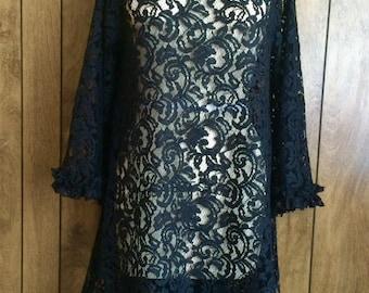 Black Bohemian Lace Dress-Top