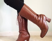 90's does 70's Brown Leather Women's Size 9 Go Go Boots