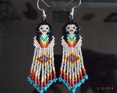 Native American Style Beaded Metallic Silver Indian Doll Earring Southwestern, Boho Hippie Cute Great Gift