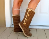 Crochet Pattern 137 Buttoned Women's Boots - Crochet Boot Pattern Crochet Patterns - Crochet Slipper Pattern Adult Winter Boots Brown Boots