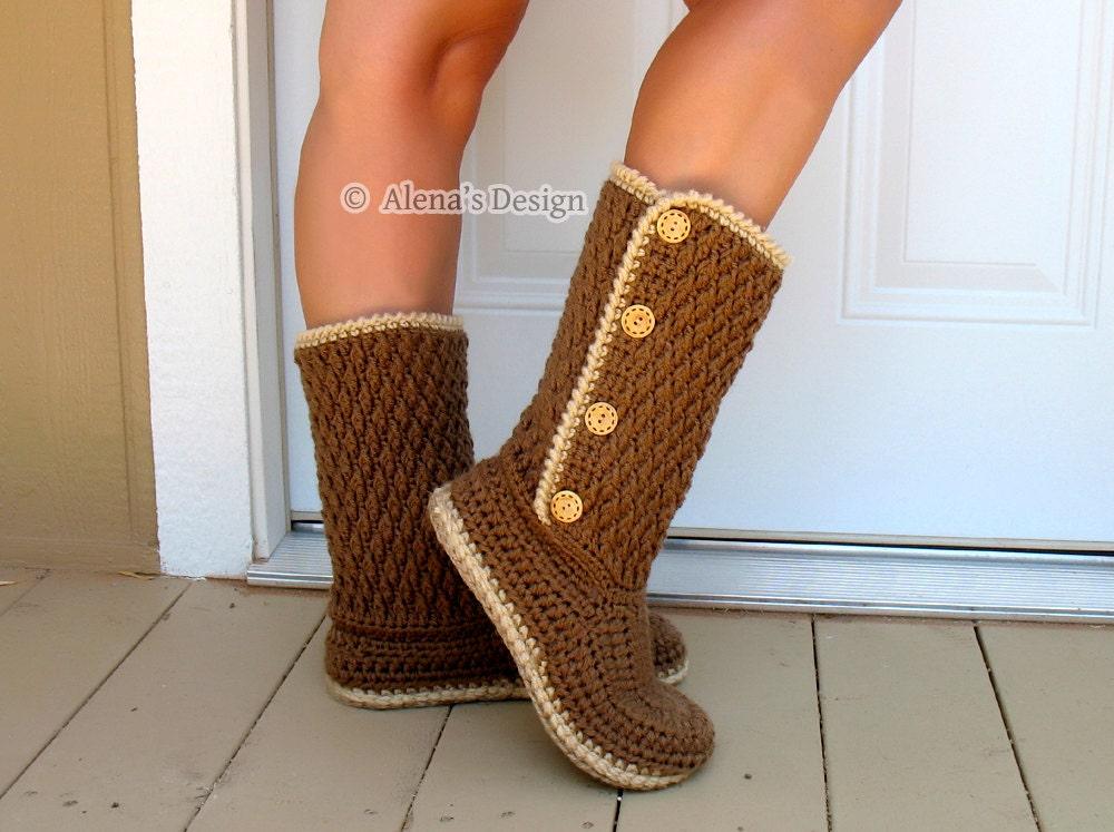 Crochet Ankle Boots Free Pattern : Crochet Pattern 137 Buttoned Womens Boots Crochet Boot
