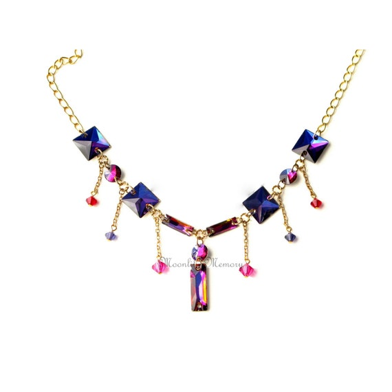 Purple and Pink Necklace Red Statement Jewelry Swarovski Crystals MoonlitMemory