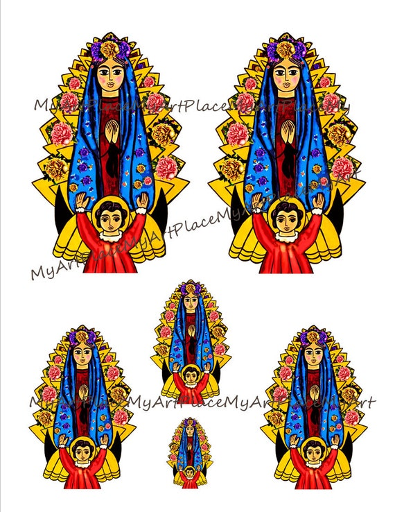 Digital Our Lady of Guadalupe Clip Art Virgin Mary Folk Art