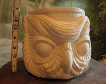 "7"", Owl planter, Owl Vase, Owl Flower Pot, Bird planter, Bird Vase, Garden decoration, Patio Planter, Ready to paint,Ceramic bisque, u-paint"