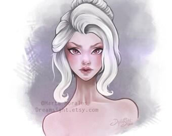 Art Print - The white girl - albino woman's face portrait
