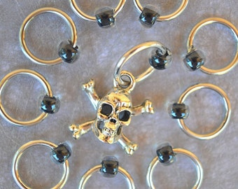 Pirate Ringers stitch markers / ring markers / knitting markers / snag free