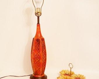 Midcentury Orange Desk Lamp Orange Abstract Table Lamp Desk Lamp Modern Home Decor Wood Base Ceramic Vintage Midcentury Lighting