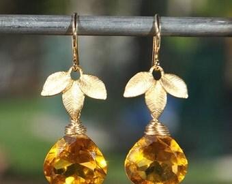 SALE Gold Citrine Earrings - Birthstone Earrings - November Birthstone Jewelry - Drop Earrings - Citrine Jewelry