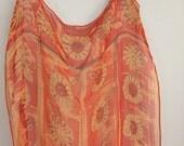 Vintage Womens Vera Scarf Orange Floral Silk Mid Century Scarf 1960s Bohemian