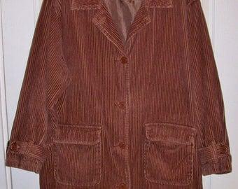 Vintage Ladies Brown Corduroy Jacket by Newport News 2X Only 9 USD