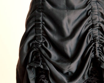 Reconstructed Upcycled Ruched Scrunch Cowl Layered Gothic Rocker Victorian Inspired Lace Skirt