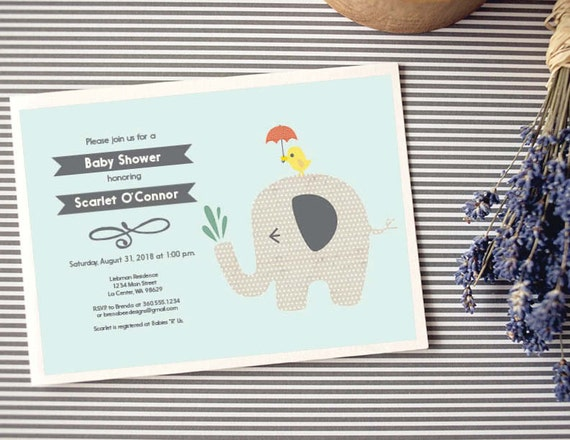 Instant Download - Elephant Baby Shower Invitation, Custom Printable - Fun Patterns - Unisex - Chevron Backside Pattern