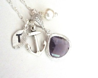 Personalized nautical necklace - Sterling silver - Anchor - Amethyst ~ Czech glass ~ Hand stamped initial - Beach wedding jewelry ~ Gift