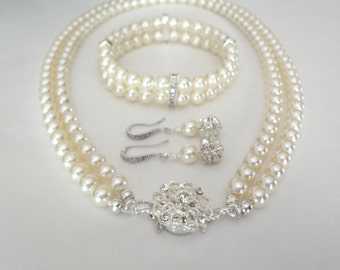 Brides pearl jewelry set  ~ Swarovski pearl bracelet, earrings and necklace set - 2 strands - Classy - Sterling silver ear wires -Brides set