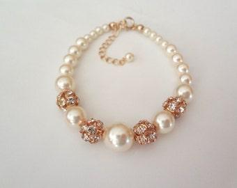 Gold pearl bracelet ~ Swarovski Pearls and crystal fireballs  - Bridal Jewelry - Bridesmaids gift - Wedding jewelry - Formal -Classic