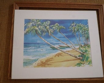 Tropical Scene/WATER COLOR by GOBINET/Wood Frame/White Mat/Glass