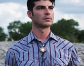 AMULET | modern bolo tie, laser cut wood and brass bolo tie