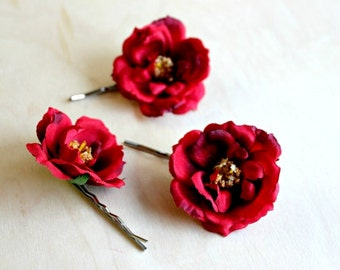 Red Rose Hair Clips, Bridal Hair Clips, Pink rose hair clips, Bridesmaids, woodland, fall,wedding hair accessories, autumn, weddings,