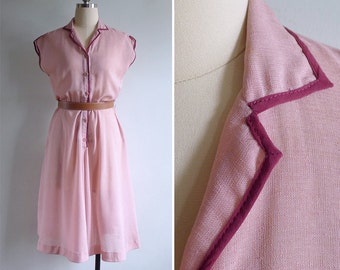 50% OFF - Vintage 80's Raspberry Pink Two-Tone Collared Dress M or L