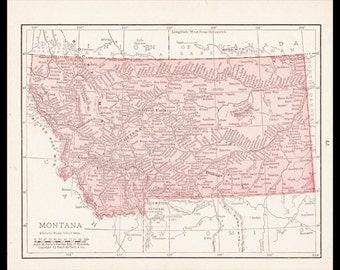 Small Montana Map of Montana State Map (Atlas Wall Decor Print, Antique Color Map, Vintage Old Wall Art) 1900s Color Map No. 77-3
