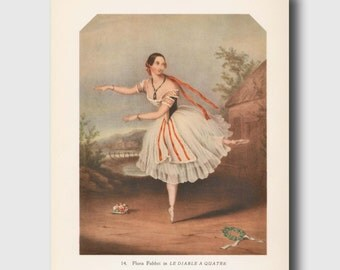 "Shabby Chic Home Decor, Vintage Ballet Art, Ballerina Print ""The Devil to Pay"" No. 14"
