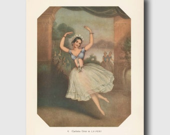 "Ballet Dancer, Vintage Gypsy Art, Boho Decor Dorm, 1940s Dance Art ""Grand Jeté Ballon"" No. 4"