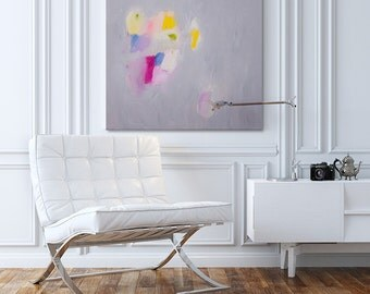 Minimal and colorful oversized Art for home decor, Acrylic painting, Large painting 32X32, Canvas art, grey, pink, yellow