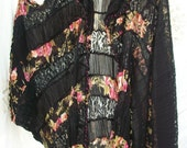 A Crazy Cocoon Wrap ~ Roses ~ Lace and Crinkled Mix ~ Upcycled Creation ~ OOAK ~ Boho/Hippie/Gypsy Style Kimono Top