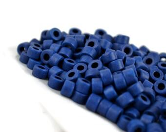 50 Mykonos Mini Tube - Royal Blue - 6 x 4mm - Greek Ceramic Beads - Cobalt Blue