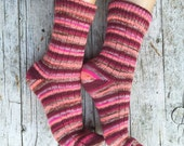 Striped midcalf socks, knit girl socks