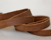 15 mm  Brown  Flat cord ,Split  Leather,Genuine Leather Strap 1 Yard