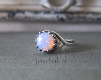 Small Opal Ring Sterling Silver Ring Gold Ombre Pink Fire Opal Ring Rustic Birthstone Ring Gift for Her Bohemian Chic Modern Jewelry C1
