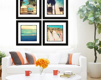 Retro Beach Photography Set, Surfer Art Beach Decor, Surfboards, VW Bus, Palm Trees, Lifeguard Tower Photography
