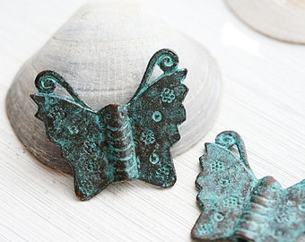 Butterfly pendant, Verdigris patina, Butterflies beads, greek Butterfly charms, metal butterfly, Lead Free, large - 2Pc - F290