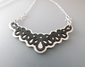 Lace Necklace with Black & Silver Layers - OOAK Artisan Jewelry