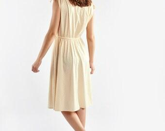 Long Yellow Sleeveless Dress with Polka Dot