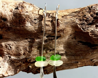 Hawaiian Emerald Green & Clear Beach Glass on Hammered 925 Sterling Silver Wire Teardrop Dangle Earrings