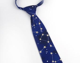Constellation tie, Navy blue tie, pre tied necktie, boys tie, toddler tie, baby tie, stars tie, constellation necktie, navy blue necktie,