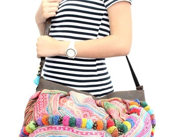 Colorful Pom Poms Cross Body Bag Leather Strap With Vintage Hmong Fabric (BG033V.1C2)