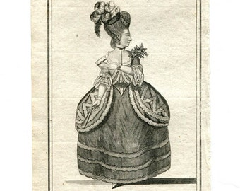 18th Century Etching - Bells British Theater - The Foundling - Woman in Vintage Dress - Dramatic Artwork - Vintage Wall Art from 1700s