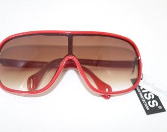 Vintage Aviator Sunglasses -Red Chunky Frames Retro Sunnies - Huge Oversized Large Glasses -  Unworn New Vintage - Aviators Plastic Red