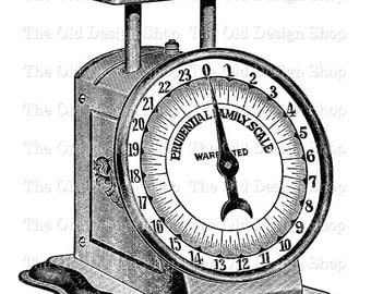 Antique Kitchen Weigh Scale Clip Art Printable Digital Download Transfer Image PNG JPG