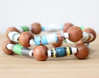 Dr. Seuss Mr. Brown Can Moo Can You Jewelry, Handmade Recycled Paper Bead Bracelet from Pages, Librarian Gift, Teacher Gift, Dr. Seuss