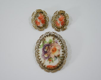 Mid Century West Germany Hand Painted Porcelain Brooch and Clip On Earrings Set