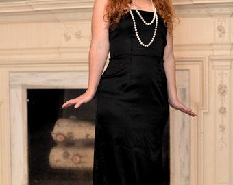 Just Drawn That Way 1980s Vintage Roberta Form Fitting Black Glam Rocker Sexy Strapless Maxi Dress With High Side Slits Sz Medium 8/10