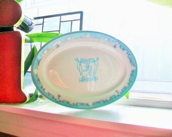 Vintage Restaurant Ware Platter Chalet on the Lake Jackson China 1960s Turquoise and Gray