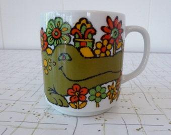60's Flower Power Alligator Coffee Mug Crocodile Made In Japan Ceramic Cup