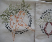 FREE SHIPPING OOAK Set of Dish Towels Seven Vegetables With Frame