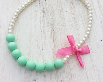 baby necklace mint green little girl chunky bead rosette stretchy string fabric flower, big girl necklace, women necklace, teen