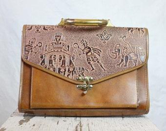 Vintage Warm Caramel Hieroglyphic Handbag Purse